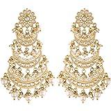 I Jewels 18k High Gold Matt Finish Plated Long 3 Layered Beaded Chandbali Earrings with Kundan & Pearl Work for Women (E2859)