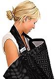 BebeChic * Qualité Supérieure 100 % Coton * Couverture d'Allaitement * Désossage Rigide - avec Sac de Rangement - noire à pois blancs