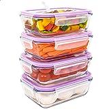 LG Luxury & Grace Lot de 4 Boîtes Alimentaires en Verre 600 ML. Récipient Hermétique avec Valve de Vapeur. Boîtes de…