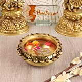 Two Moustaches Brass Urli Ethnic Traditional Bowl with Bells Showpiece, 1 Piece
