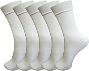 RC. ROYAL CLASS Boys and Girls Calf Length White Plain Cotton School Socks (Pack of 5 Pairs)