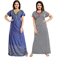 YKI Women's Synthetic Maxi Night Gown (Pack of 2)