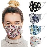 Cotton Face Masks Washable 5 Pack | Reusable Face Coverings, Filter Pocket, Adjustable Straps | UK Seller | 3 Layer…