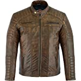 Mens Casual Biker Fashion - Leather Soft Touch Jacket - Motorcycle Style - in 5 Colours