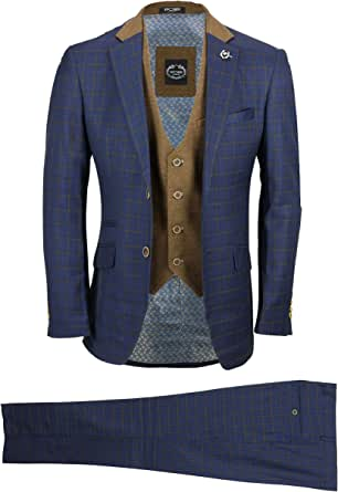 Mens 3 Piece Suit Vintage Tan Windowpane Check on Navy Blue Smart Tailored Fit UK Size