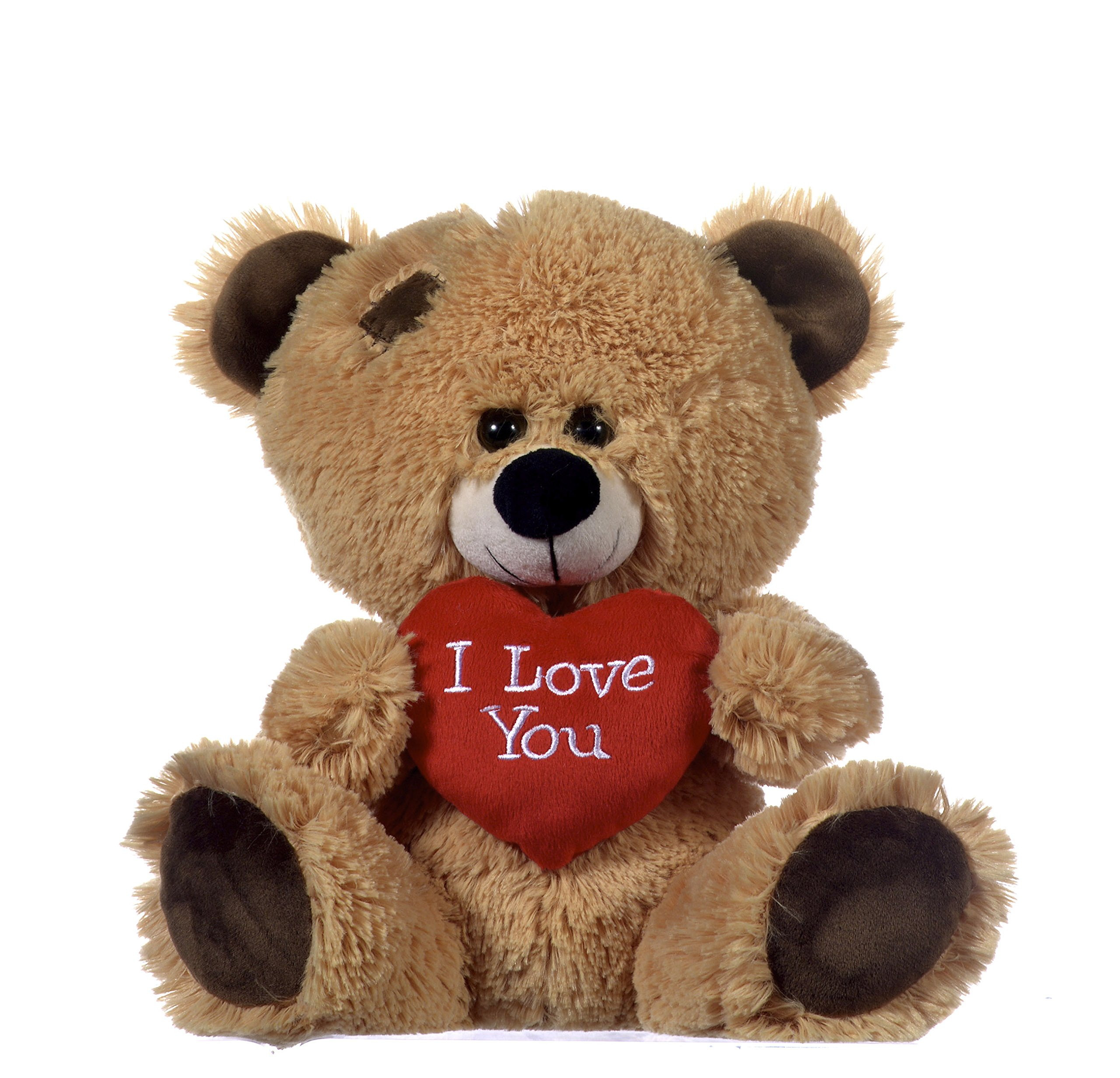 "Brown Patchwork Teddy Bear holding Red Heart with ""I Love You"" written on it"