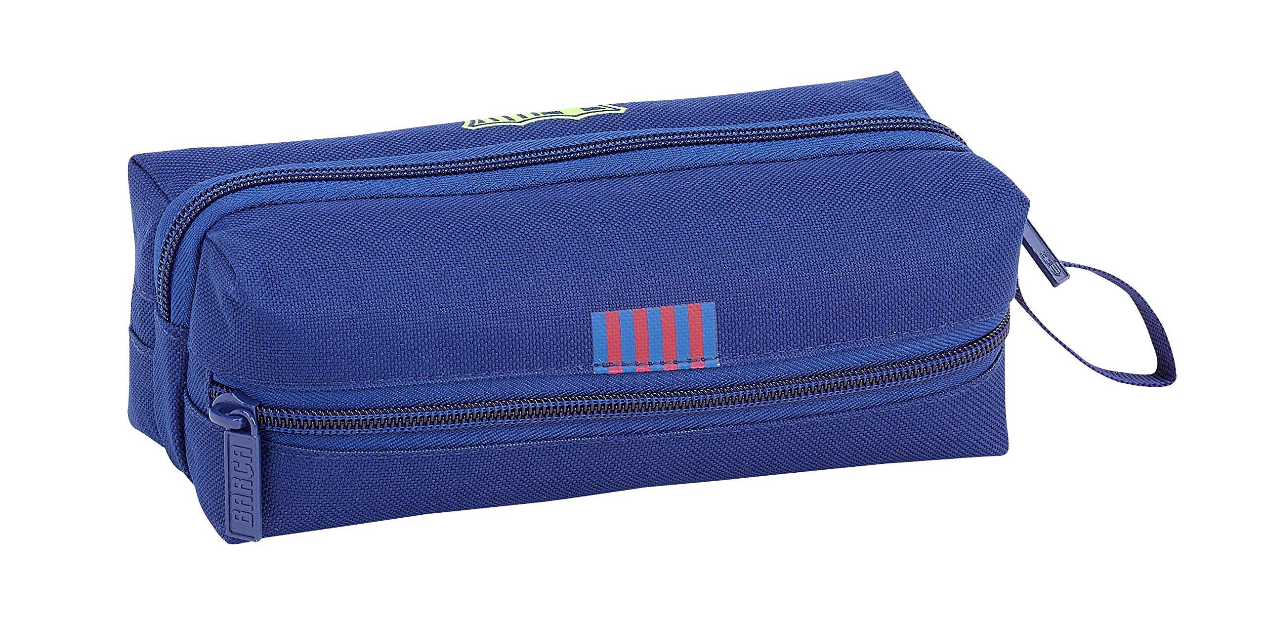 FCB Estuche portatodo Triple 3 Cremalleras Escolar, FC Barcelona Azul, 20 cm