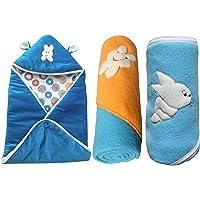 My Newborn Baby Fleece Hooded Blanket, Blue (Pack of 3)