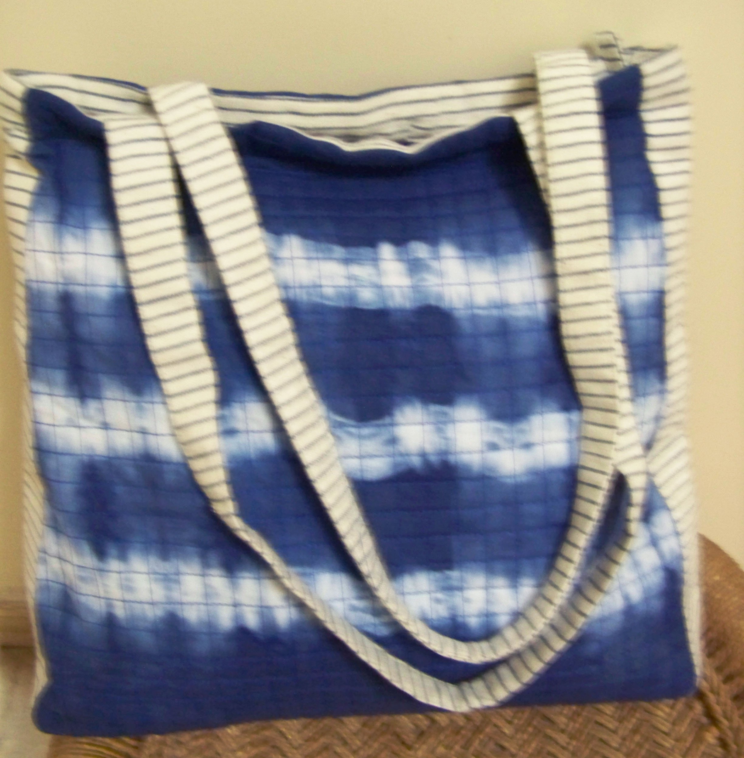 Panigha India Handmade Top Handle/Tote Bag made of cotton fabric with Tie n Dye in Indigo Blue - handmade-bags