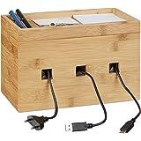 Relaxdays Kabelbox bambu, multiladdningsstation trä, kabelhantering skrivbord, H x B x D: 16,5 x 25,5 x 14 cm, naturlig