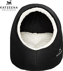 KATZEENA -  Kuschelhöhle | Premium Katzenbett | Waschbare Katzenhöhle | Kuschelhaus für Haustiere