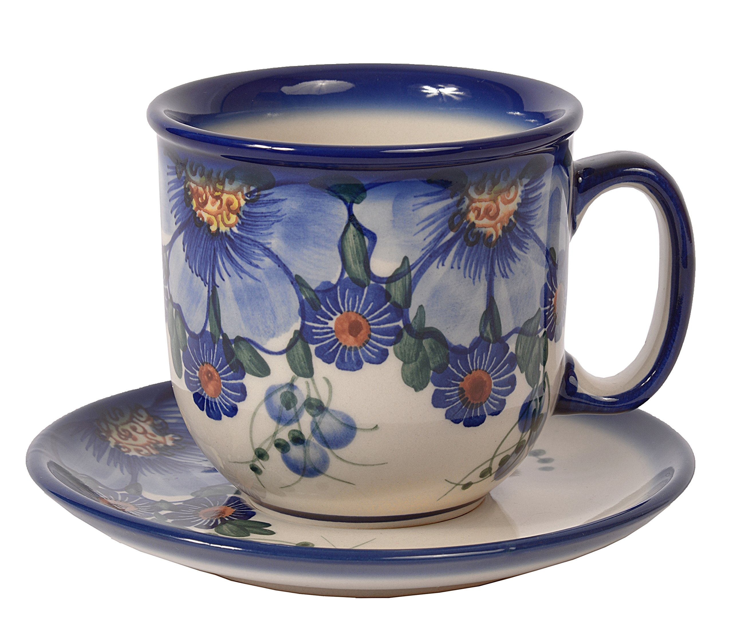 Traditional Polish Pottery, Handcrafted Ceramic Coffee Cup and Saucer 275ml, Boleslawiec Style Pattern, F.201.Passion
