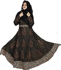 D C Women's Georgette and Printed Satin Fabric Abaya Burkha with Hijab Scarf and Waist Belt(BQ_05, Black, Free Size)
