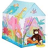 Relaxdays 10024756 lektält djungeldjur, för barnrum, utomhus, från 3, tyg, safari barntält HBT 102 x 72 x 95 cm, flerfärgat