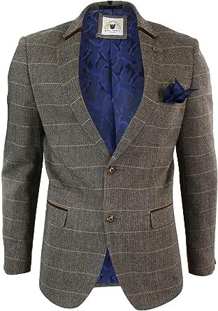 Marc Darcy Mens Herringbone Tweed Tan Brown Slim Fit 2 Button Blazer Check Jacket
