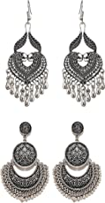 Tiaraz German Silver Oxidized Metal Earrings For Girls and Women