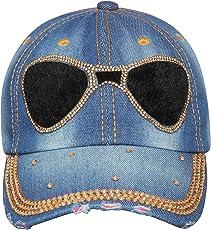 FabSeasons Denim Studded Cap for Women and Girls, Adjustable Strap