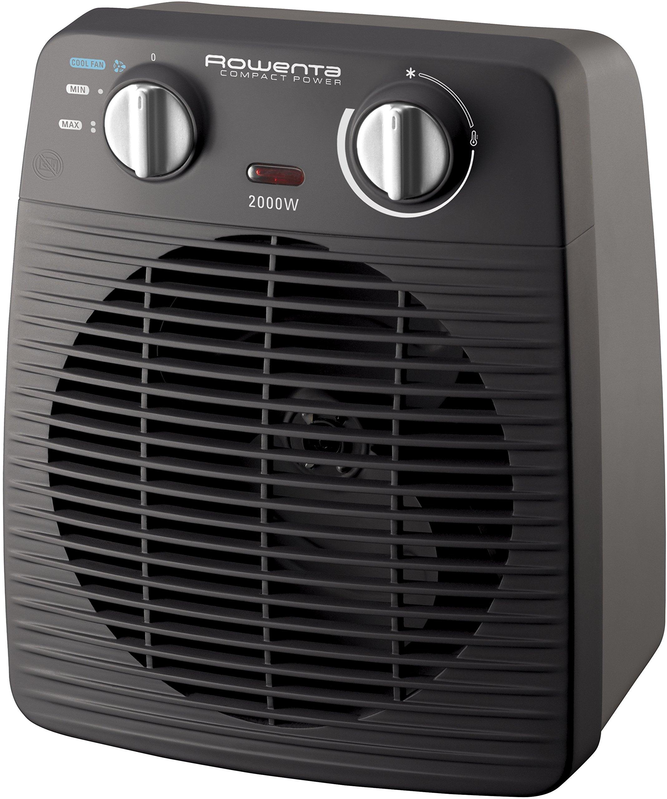 Rowenta Classic Indoor Black Fan - electric space heaters (Fan, 1.5 m, Indoor, Black, 25 m², 2000 W