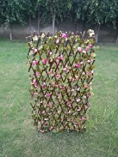 Sofix Expandable Grass Fence Artificial Hedge Green Leaves Garden Decor Balcony Decor Wall Decor Home Decor - Expandable to 5 Feet/60 inch/150cm (Pack of 1)