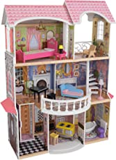 KidKraft 65907 Magnolia Mansion Puppenhaus aus Holz mit Zubehör für 30cm große Puppen mit 13 Accessoires und 3 Spielebenen