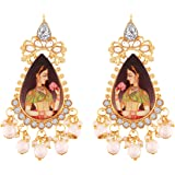 I Jewels Traditional Gold Plated Padmavati Earrings Embellished with Pearls for Women/Girls