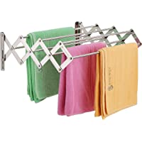 SYNERGY 7 Rod - Premium Heavy Duty Rust-Free Stainless Steel Foldable Wall Mounted/Mounting Clothes Drying Stand/Cloth…