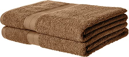 AmazonBasics Fade-Resistant Cotton Bath Towel - Pack of 2, Acorn Brown