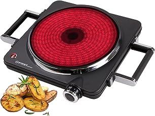 TZS First Austria - 1500 Watt Infrarot-Kochplatte mit 22 cm Kochfeld | jedes Kochgeschirr geeignet | 300°C in 30 Sekunden | Griffe demontierbar | Einzel-kochplatte | Glaskeramik-Kochfeld
