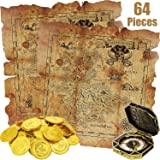 Sumind 64 Pieces Pirate Theme Toys, Includes 60 Pieces Pirate Gold Coins Fake Coins, 2 Pieces Treasure Map and 2 Pieces…