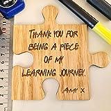 Personalised Gifts Best Teacher Thank You Grow Me Coaster Jigsaw - Oak