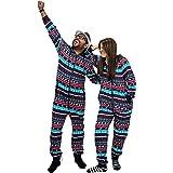 NOROZE Navidad Onesie Emparejamiento Familiar Prendas de Dormir Vacaciones Pijama de Una Pieza Regalos para Hombres, Mujeres,