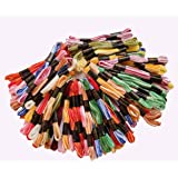 Vardhman Threads Cotton Embroidery Threads Set Double Shaded (8 m, Multicolour) - Pack of 100