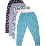 Toon Toon Stretchable cotton full length Leggings for kids girls combo with mix print - pack of 5