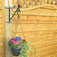 Set of 2 12 Black Hanging Basket Brackets//Shelf Brackets Secured with Clinch-It 4 Concrete Post Brackets