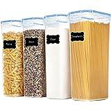 Vtopmart 2.8L boîtes de Conservation Alimentaire sans BPA de Nourriture en Plastique avec Couvercle,Ensemble De 4+24 Étiquett