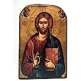 Icône en bois fait main, Chrétienne orthodoxe grecque, representant Jésus Christ / MP2