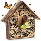 Relaxdays Insektenhotel gebrannt in 2 Größen als Unterschlupf für Käfer, Bienen und andere Insekten Bienenhotel aus Naturmaterialien Insektenhaus aus Holz, natur