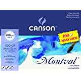 Canson 200006651 Montval 300gsm Akvarellövning Papper, Naturlig Vit, 24 x 32 cm, Paket med 100 Blad