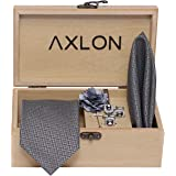 Axlon Men's Micro Necktie Set with Pocket Square, Brooch Pin and Cufflinks (Grey, Free Size)