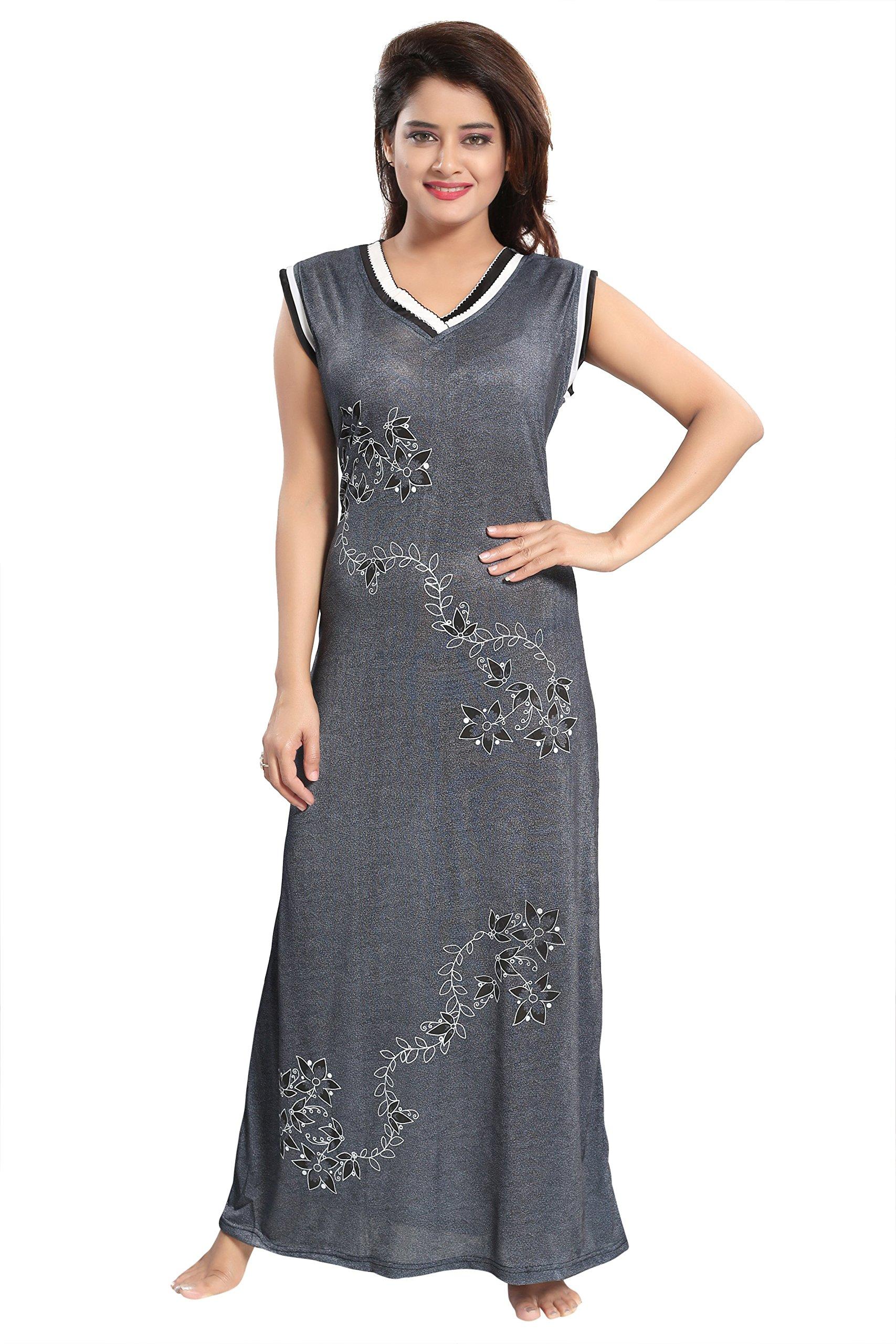 e09ad3713949 TUCUTE Women Beautiful Grey Sleeveless Nighty Night Gown Night Dress ...