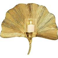 KARE Ginkgo Leaf Portacandela da Parete, Oro, One Size