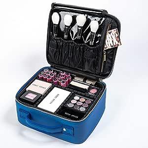 GLAMFORT Makeup Bag Makeup Travel Train Case Makup Organiser Bag with Adjustable Compartments Travel Kit Artist Case for Girl (Blue Small)