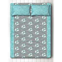 Silverlinen Counting Sheep 100% Cotton 250 TC Double Bedsheet for Kids for Boys Room with Two Pillow Covers - Blue