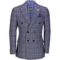 Xposed Mens Single/Double Breasted Blazer Tweed Check Retro Tailored Fit Suit Jacket