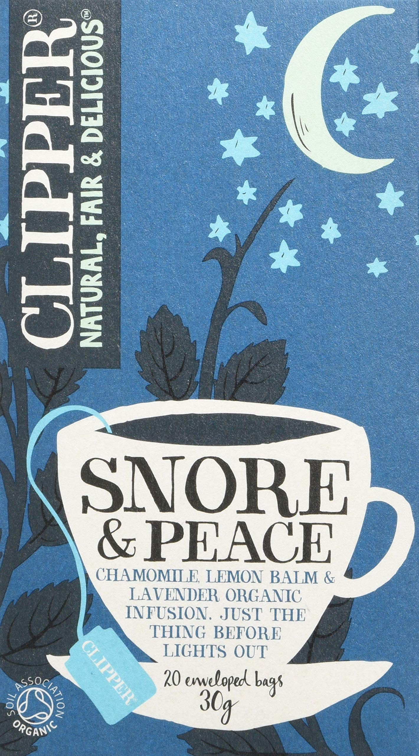 Clipper organic snore and peace tea bundle (soil association) (infusions) (sleep aid) (6 packs of 20 bags) (120 bags) (a floral, vegetal tea with aromas of camomile, lavender, lemon balm) (brews in 2-5 minutes)