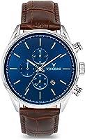 Vincero Luxus Chrono S Herren Armbanduhr - Blaues Zifferblatt mit braunem Lederarmband - 43mm Chronograph Uhr - Japanisches Quarz Uhrwerk