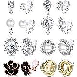 Adramata 8 paia di orecchini a clip per le donne Fashion Rose Flower CZ perle d'acqua dolce Twist Knot ipoallergenico non for
