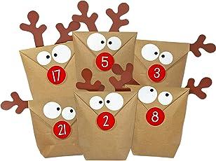 KuschelICH DIY Adventskalender Elch zum Befüllen   selber Machen ohne Schere   alle Teile gestanzt   Neuauflage des Original Elchtütenkalenders   wiederverwendbar   Weihnachtskalender