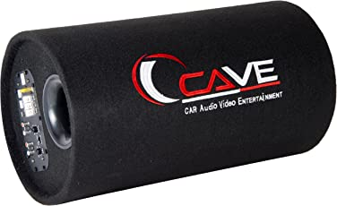 Cave Bass Tube 10 inche with Amplifier, Base Tube 10' with amp (Black, Cave72)