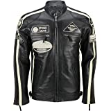 Xposed Mens Real Soft Leather Fitted Racing Biker Jacket Vintage Urban Retro Look